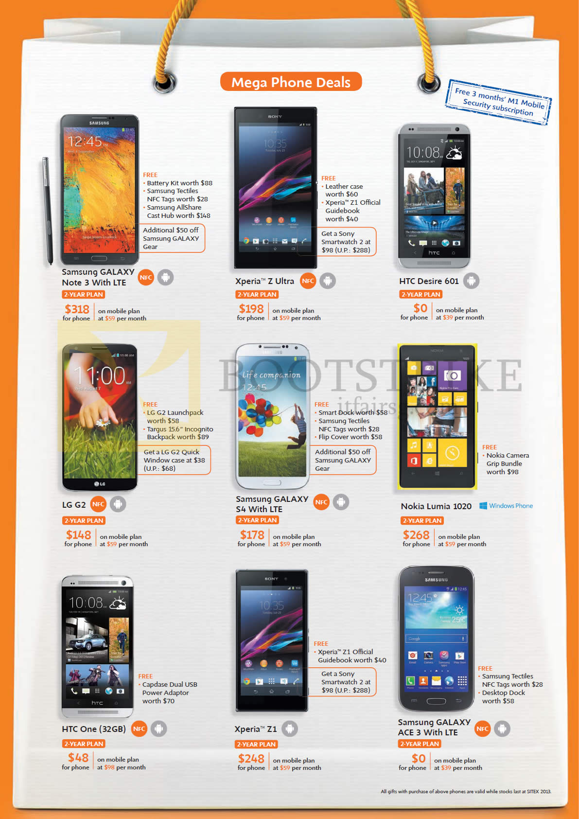 SITEX 2013 Price List Image Brochure Of M1 Mobile Samsung Galaxy Note 3 S4