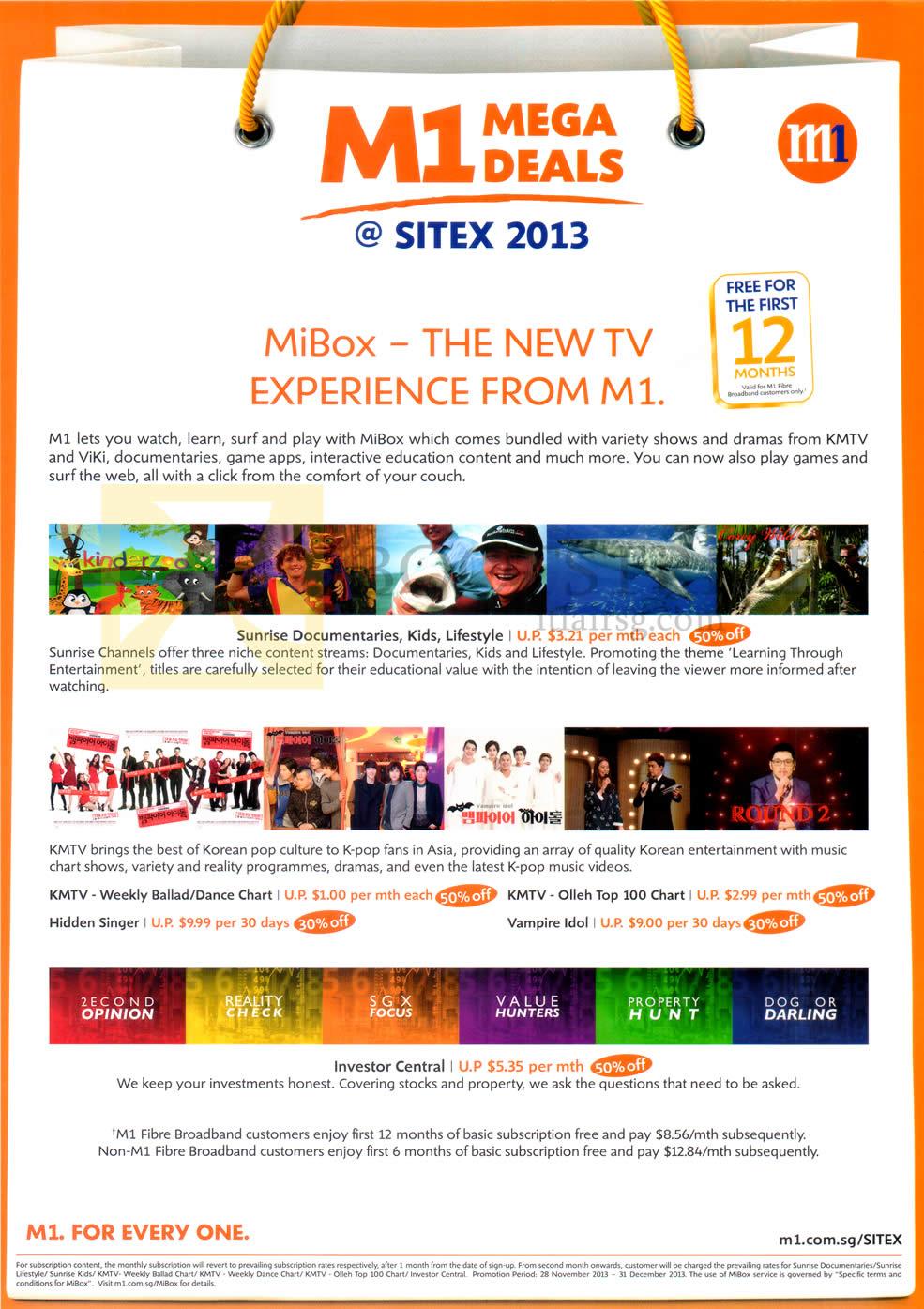 m1 tv mibox sitex 2013 price list brochure flyer image. Black Bedroom Furniture Sets. Home Design Ideas