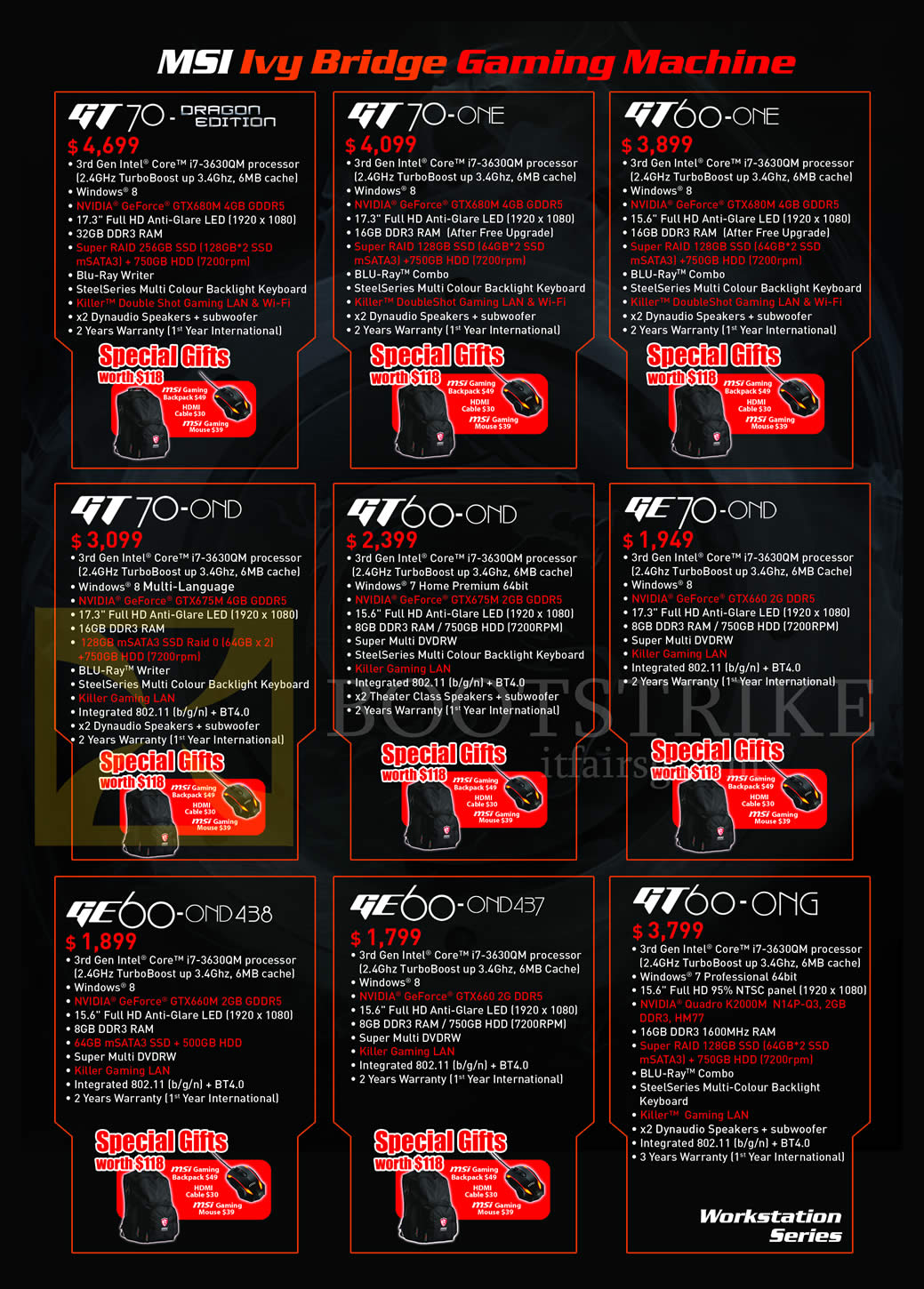 SITEX 2013 price list image brochure of MSI Desktop PCs Gaming GT70-Dragon, GT70-0NE, GT60-0NE, GT70-0ND, GE70-0Nd, GE60-0ND438, GE60-0ND437, GT60-0NG