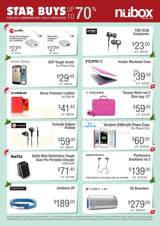 SITEX 2013 price list image brochure of Nubox Accessories TDK EC40 Earphones, Incipio Macbok Case, Macally Cable, IPhone Case Armor, Charger Power Bank, Jawbone