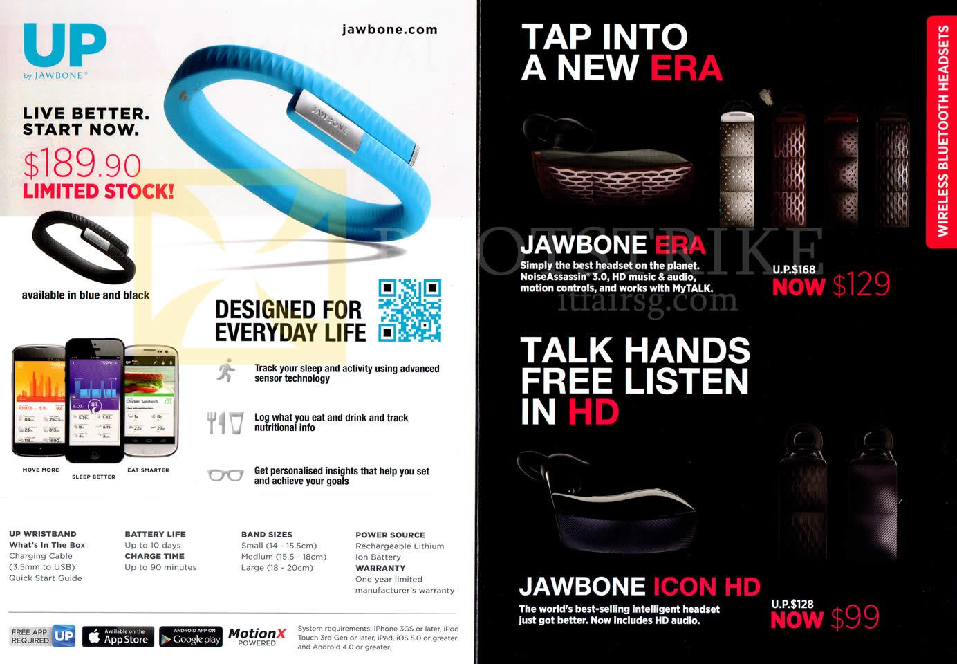 SITEX 2013 price list image brochure of Nubox Jawbone Bluetooth Headset Era, Icon HD, Up