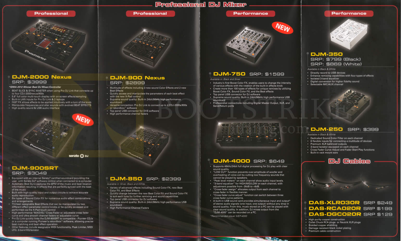 Pioneer Dj Mixers Djm 2000 900srt 900 850 750 4000 350 250 Cables Das Xlr030r