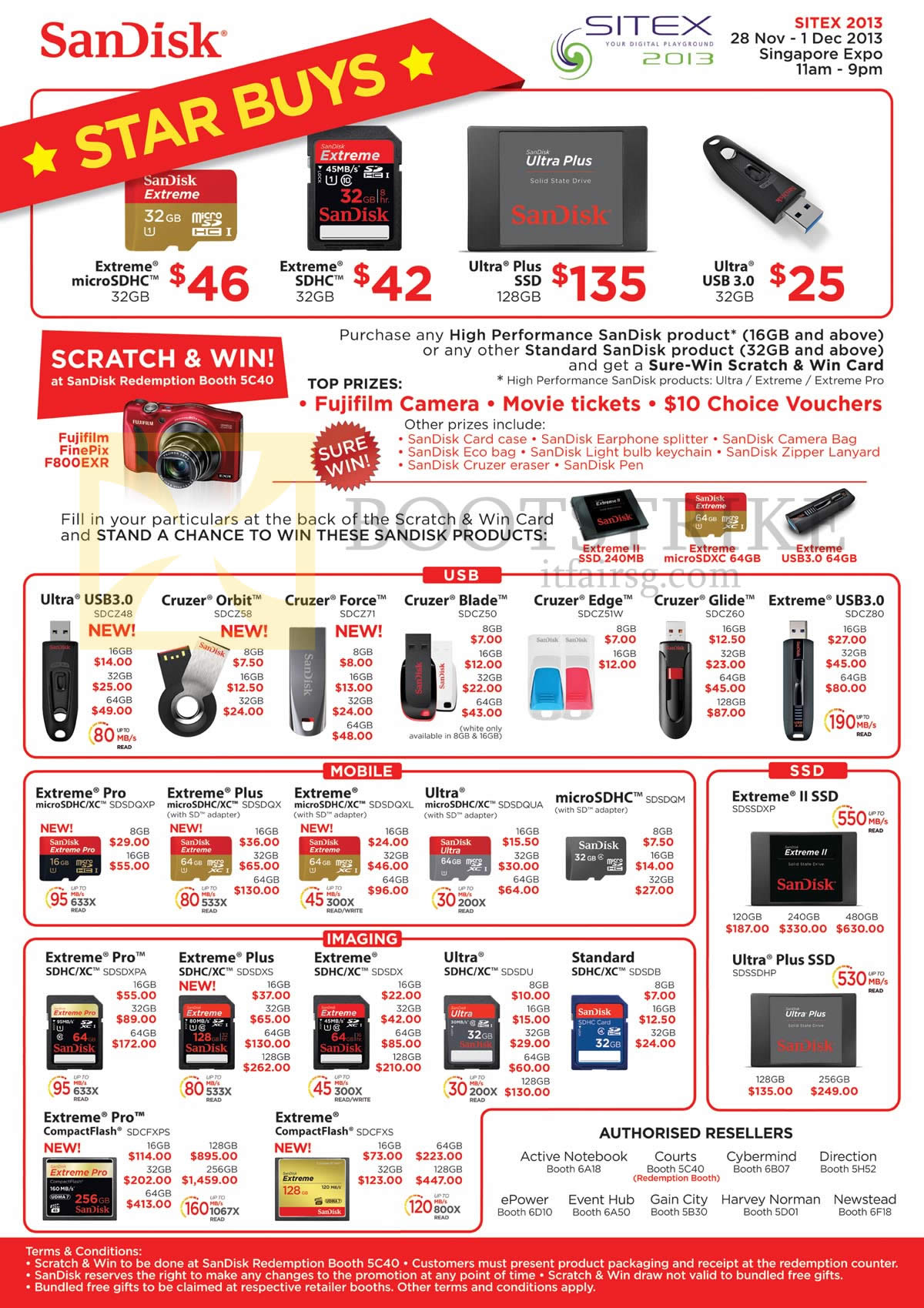 SITEX 2013 price list image brochure of Sandisk USB Flash Drives, Memory Cards MicroSDHC, Extreme SDHC, Ultra Plus SSD, Cruzer Orbit Force Blade Edge Glide, Extreme Pro Plus II, CompactFlash CF, MicroSDXC