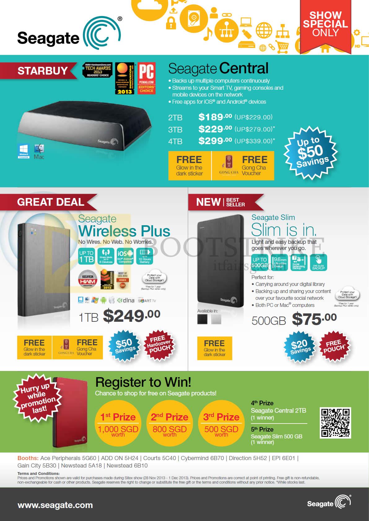 SITEX 2013 price list image brochure of Seagate External Storage Central 2TB 3TB 4TB, Wireless Plus 1TB, Slim 500GB