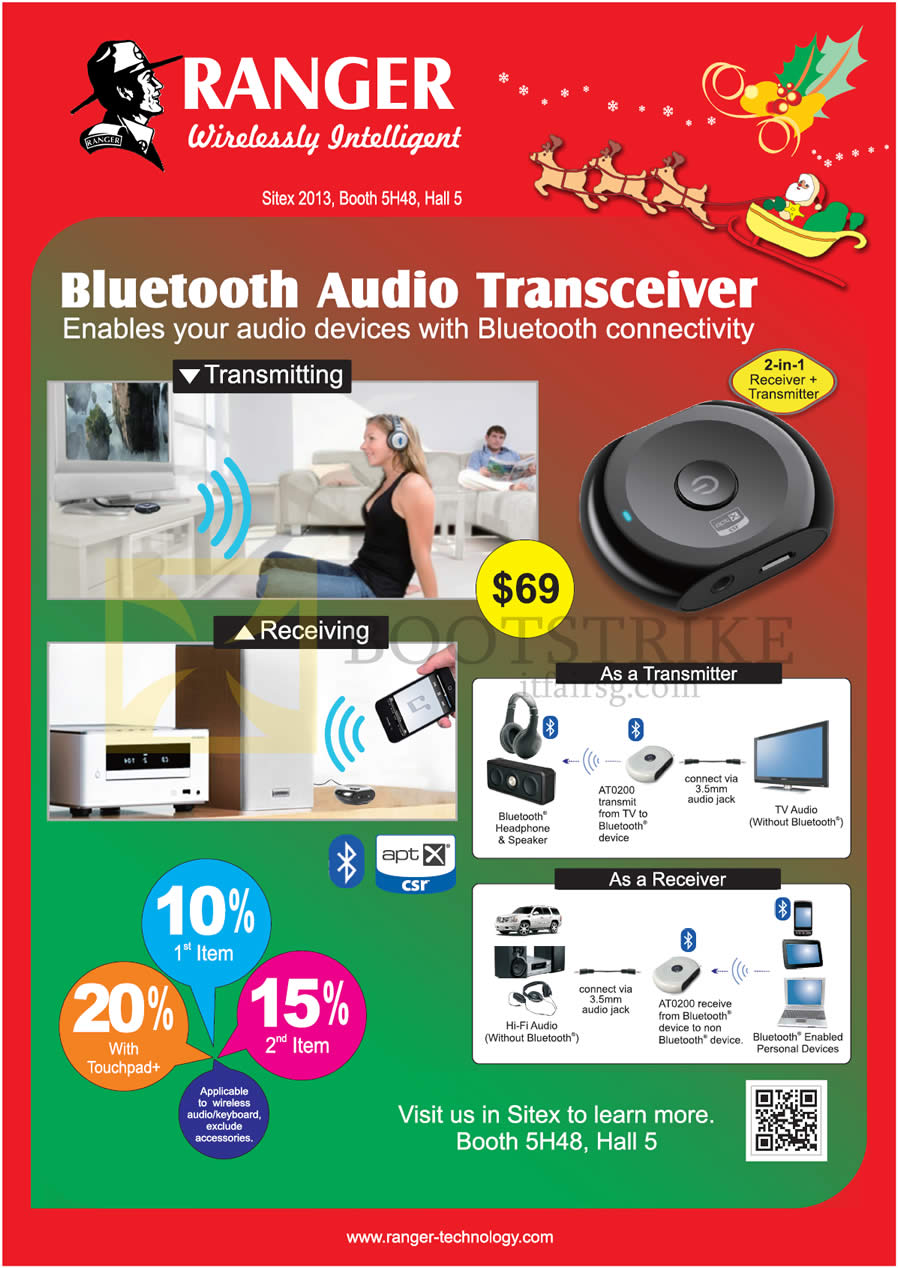 SITEX 2013 price list image brochure of Systems Tech Ranger Bluetooth Audio Transceiver