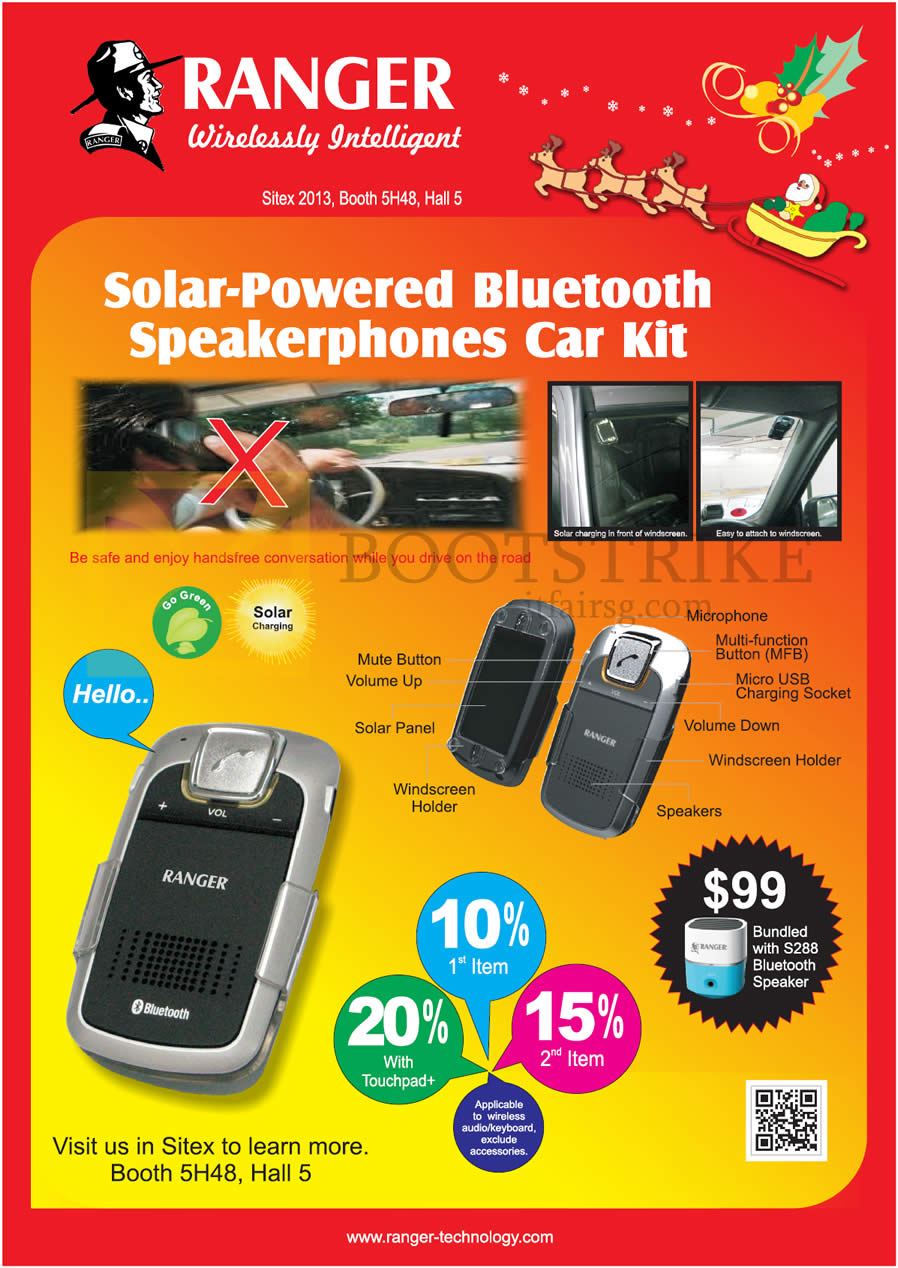 SITEX 2013 price list image brochure of Systems Tech Ranger Solar Powered Wireless Car Kit Speaker