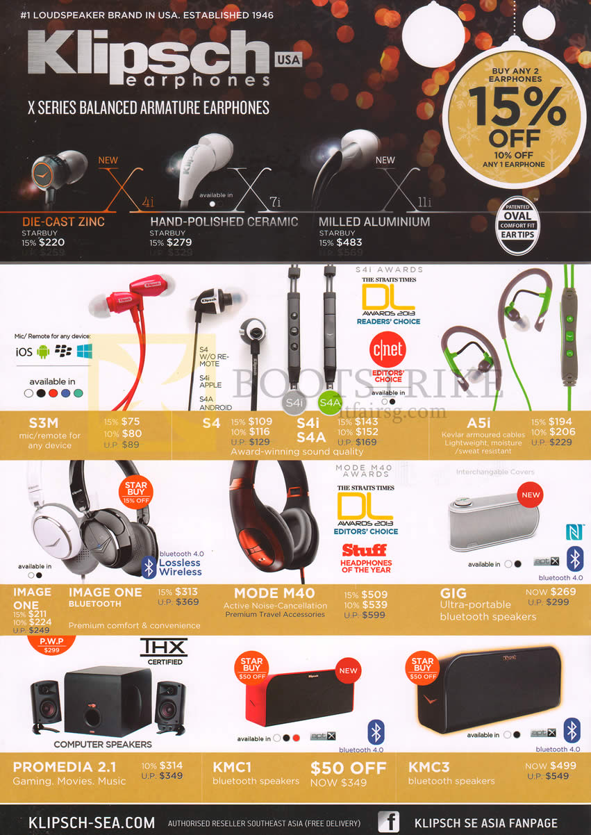 SITEX 2013 price list image brochure of Tech Vogue Klipsch Earphones, Die Cast Zinc, S3M, S4, A5i, GIG, Mode M40, Headphones Image One, Promedia 2.1 Speakers, KMC1, KMC3