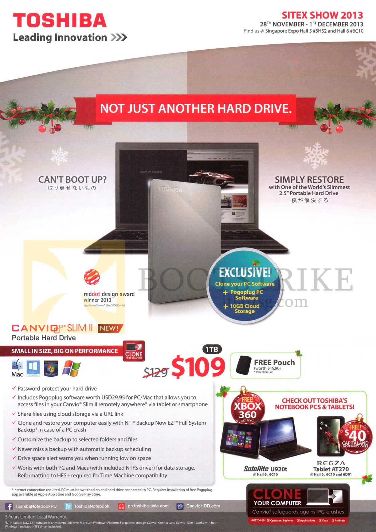 SITEX 2013 price list image brochure of Toshiba External Storage Canvio Slim II 1TB