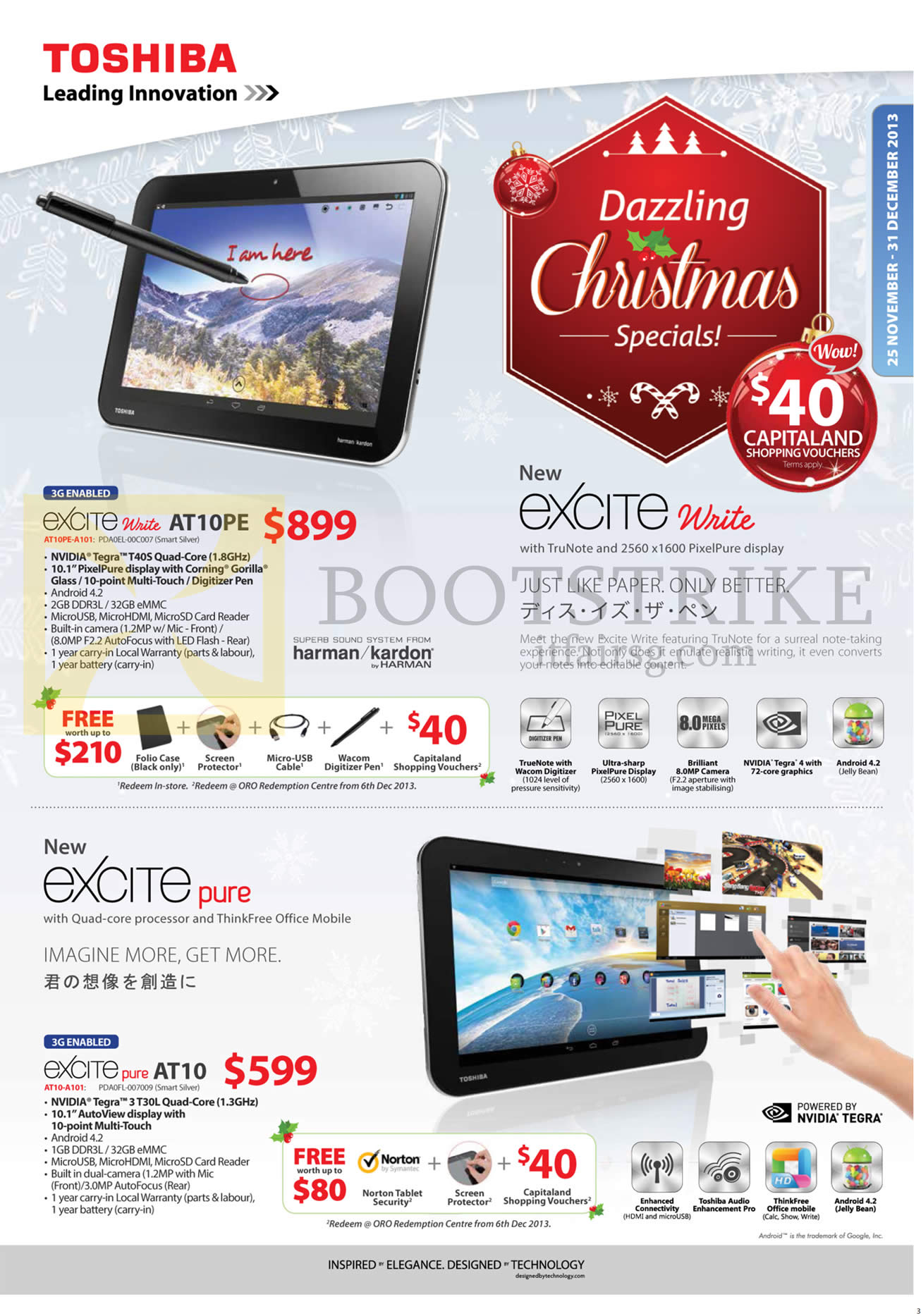 SITEX 2013 price list image brochure of Toshiba Tablets Excite Write AT10PE, Excite Pure AT10