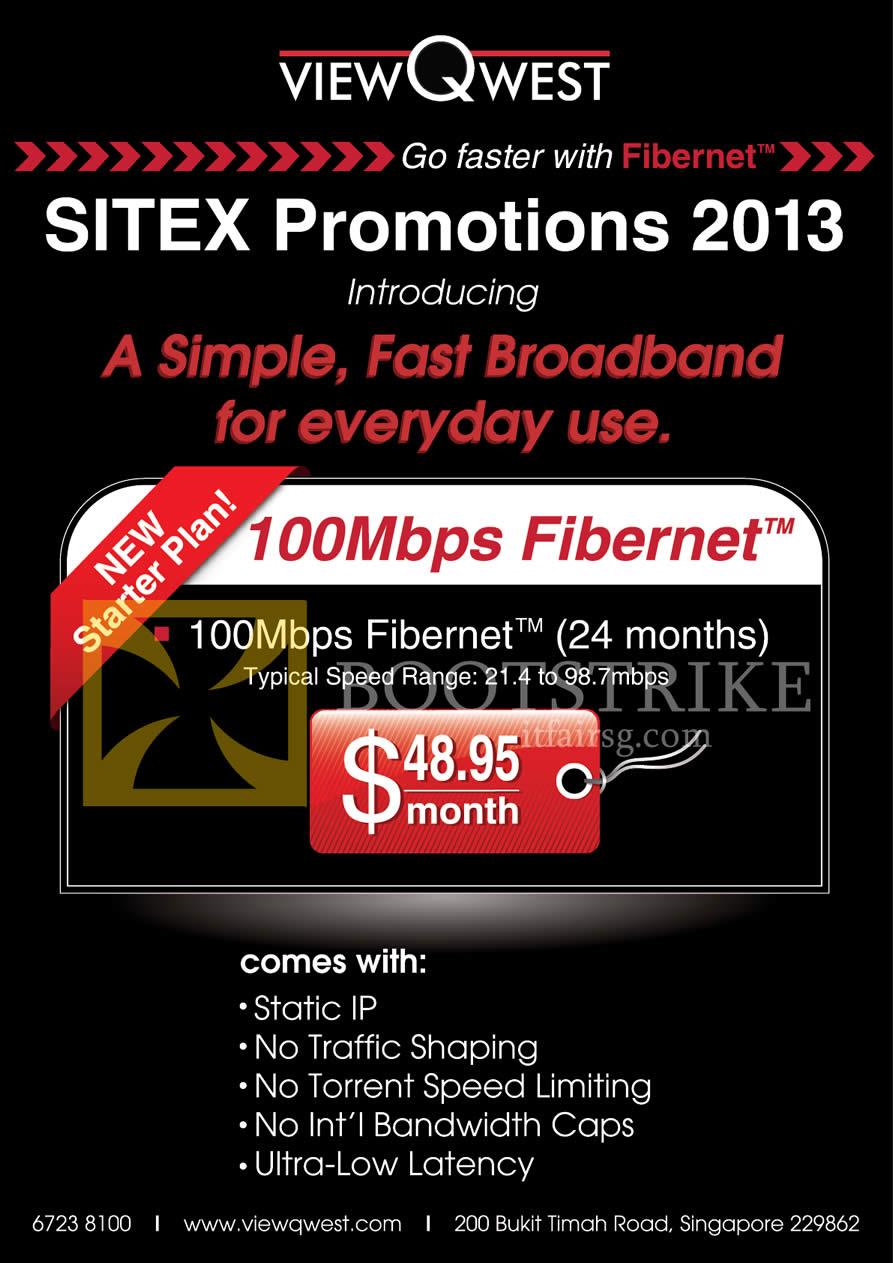 SITEX 2013 price list image brochure of ViewQwest Fibre Broadband 100Mbps Fibernet