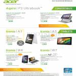 Notebooks, Tablets, P3-171-33222G06a, 53334G12a, Iconia A1, A3, W4-820, W710