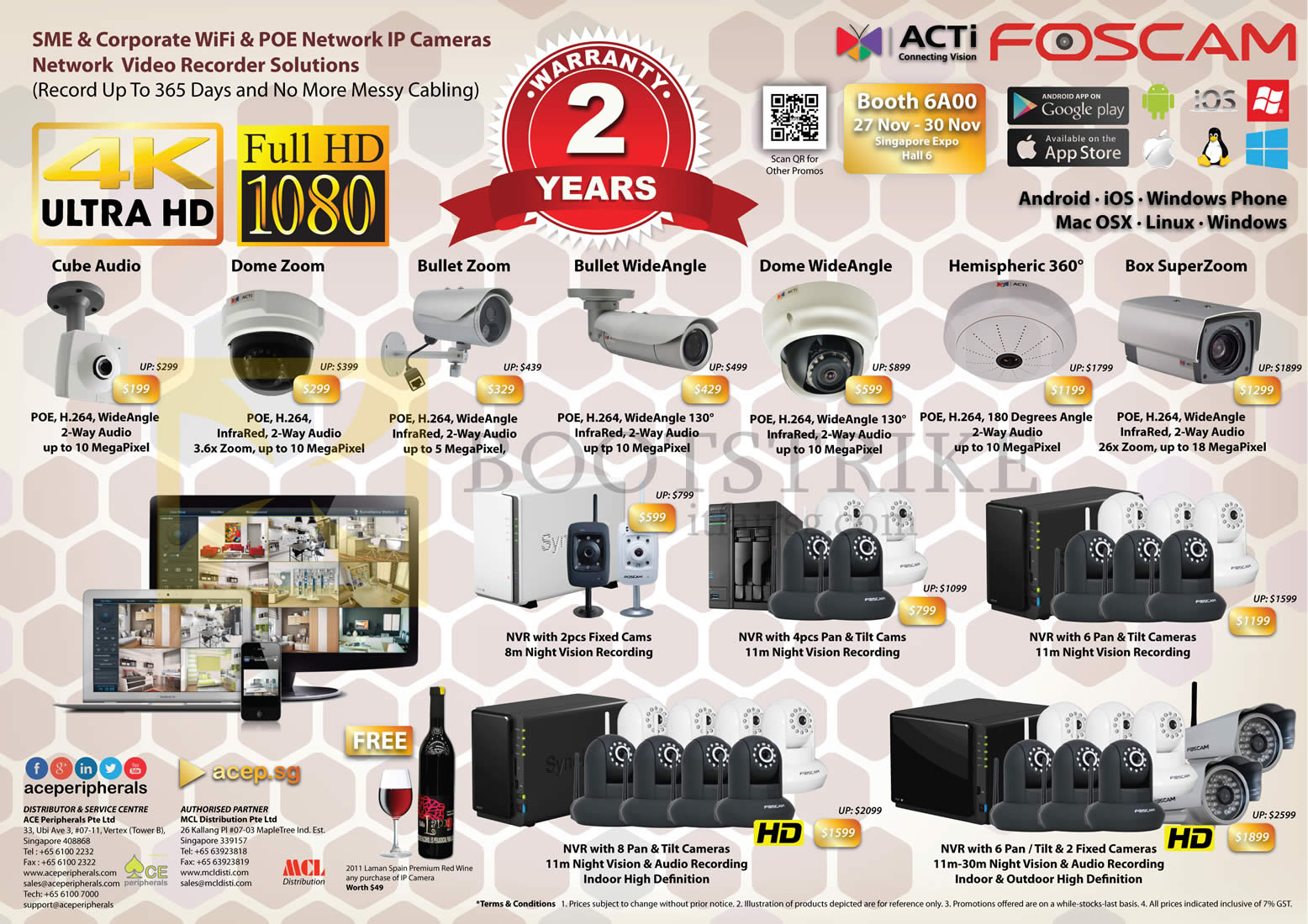 SITEX 2014 price list image brochure of Ace Peripherals ACTi Foscam Network IP POE WiFi Camera Cube Audio, Dome Zoom, Bullet Zoom, Bullet Wide Angle, Hemispheric 360, Box SuperZoom