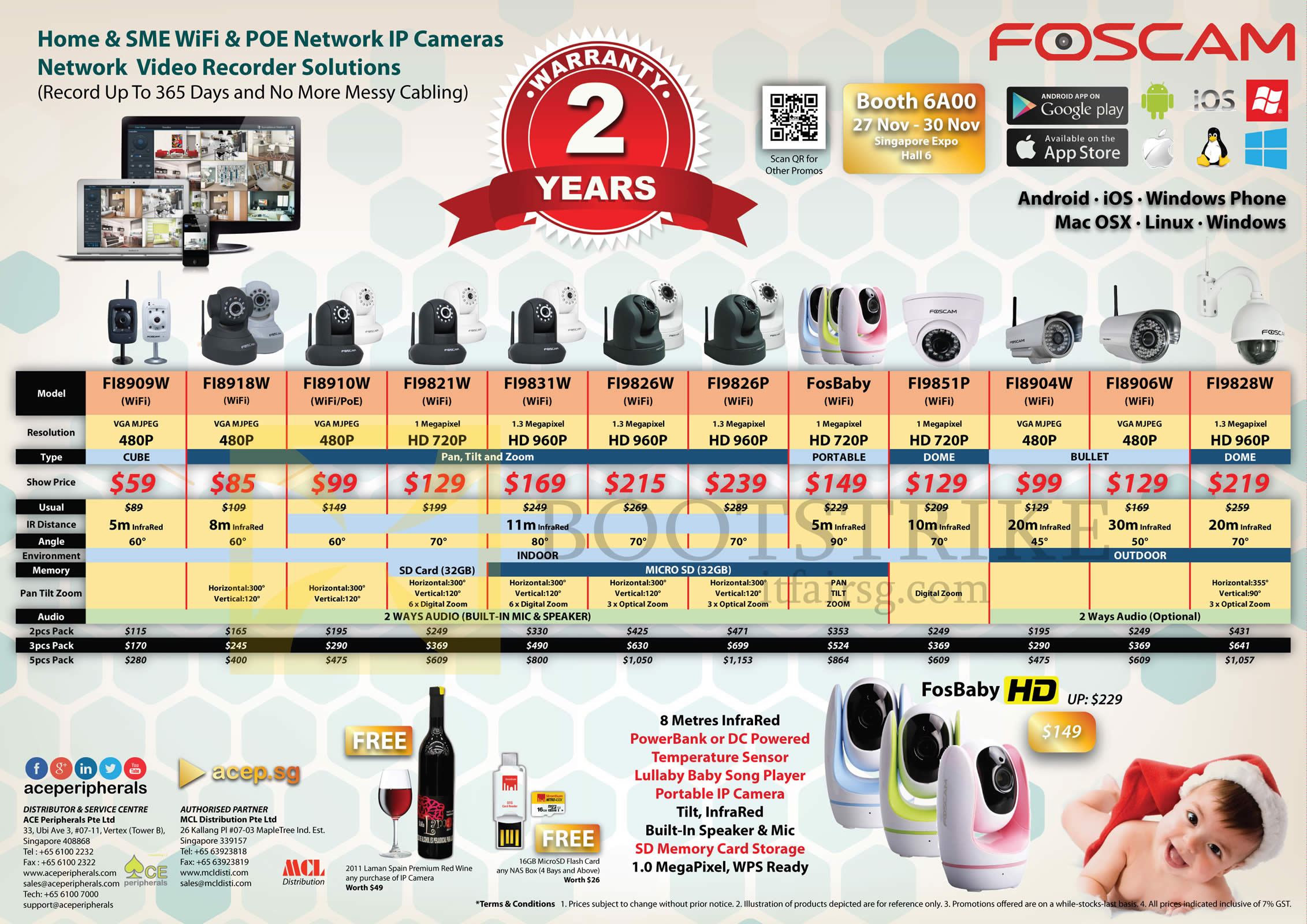SITEX 2014 price list image brochure of Ace Peripherals ACTi Foscam Stand Alone Network IP POE WiFi Camera FI8909W, FI8918W, FI8910W, FI9821W, FI9831W, FI 9826W, FosBaby, FI9851P, FI8904W, FI8906W