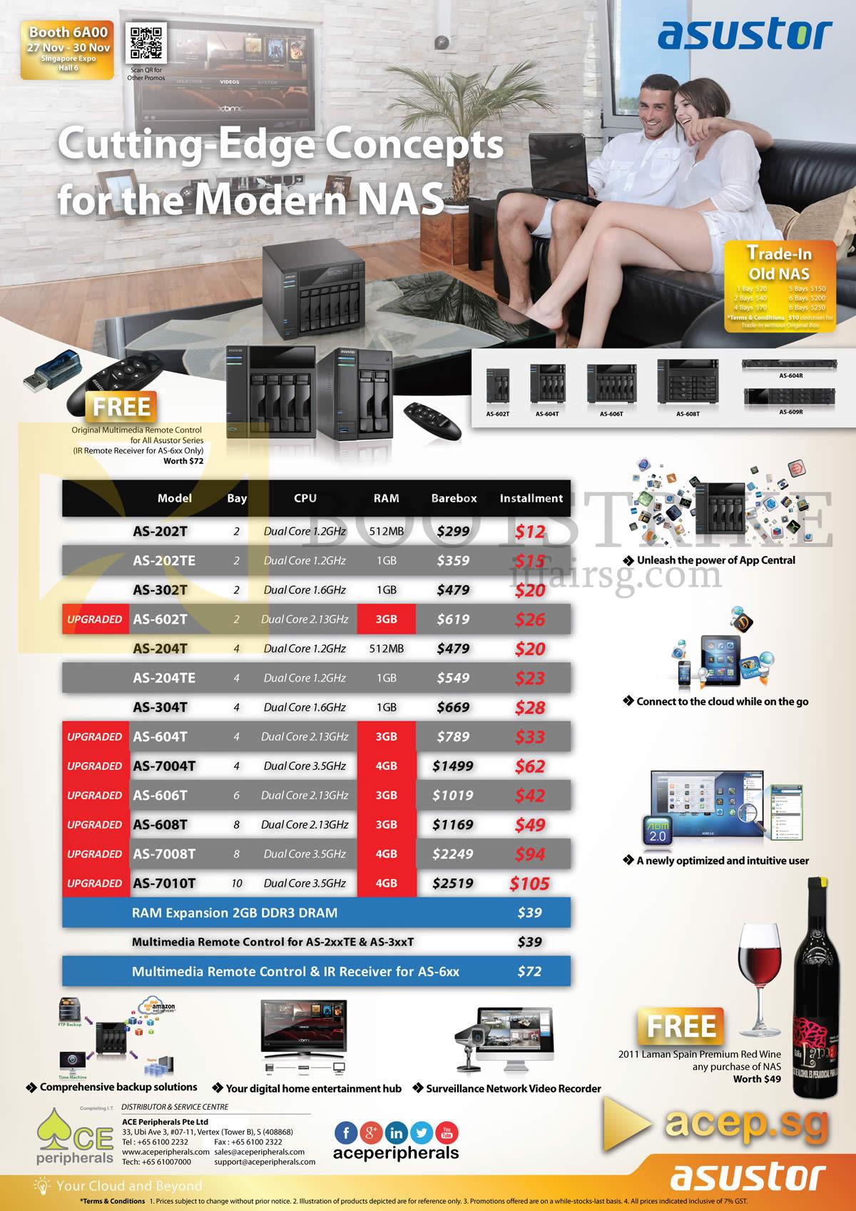 SITEX 2014 price list image brochure of Ace Peripherals Asustor AS N202T, 202TE, 204T, 204TE, 302T, 304T, 602T, 604T, 606T, 608T, 7004T, 7008T, 7010T
