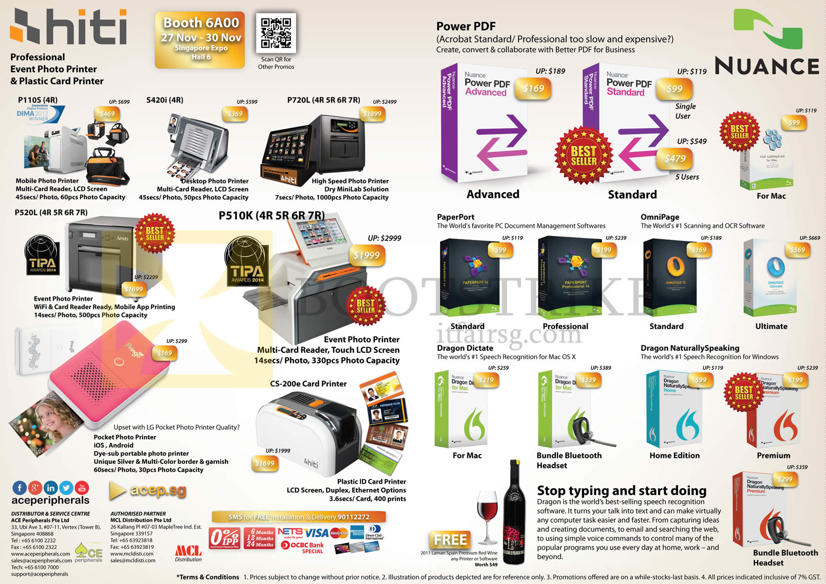 SITEX 2014 price list image brochure of Ace Peripherals Asustor HiTi Nuance Synology Power PDF, PaperPort, Dragon Dictate, Dragon Naturally Speaking