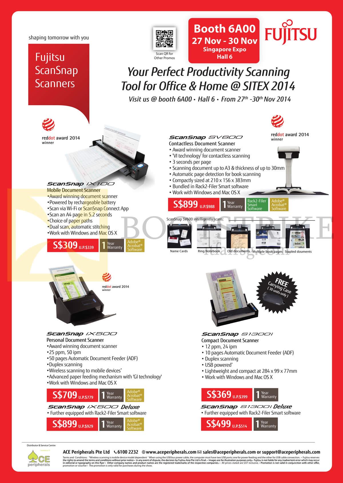 SITEX 2014 price list image brochure of Ace Peripherals Fujitsu Scanners ScanSnap IX100, SV600, IX500, S1300i