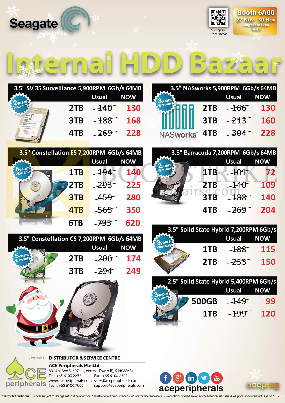 SITEX 2014 price list image brochure of Ace Peripherals Internal HDDs Seagate Barracuda NASworks SSD Constellation 1TB, 2TB, 3TB, 4TB, 5TB, 6TB