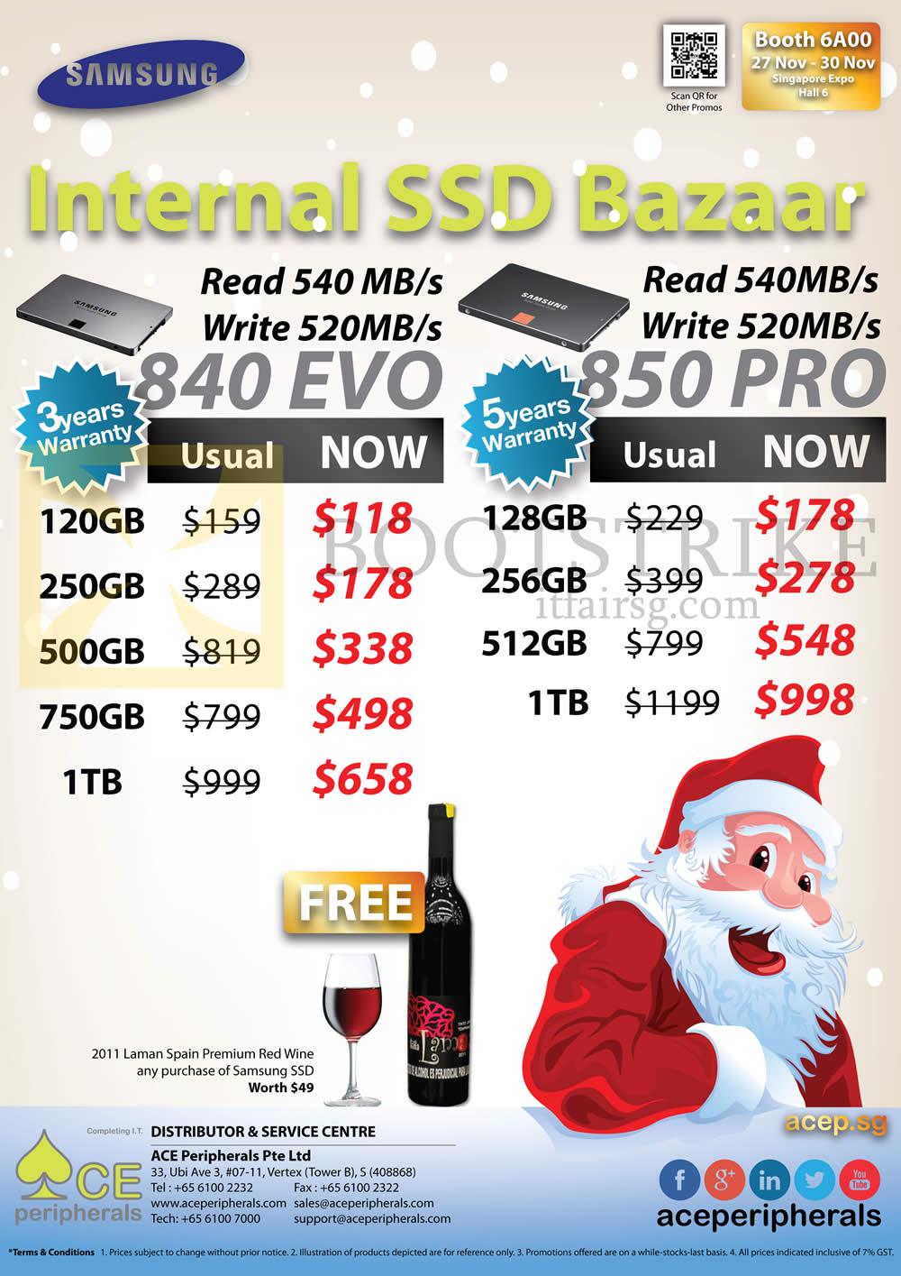 SITEX 2014 price list image brochure of Ace Peripherals Internal SSD Samsung 840 EVO, 120GB, 250GB, 500GB, 750GB, 1TB PRO, 128GB, 256GB, 512GB