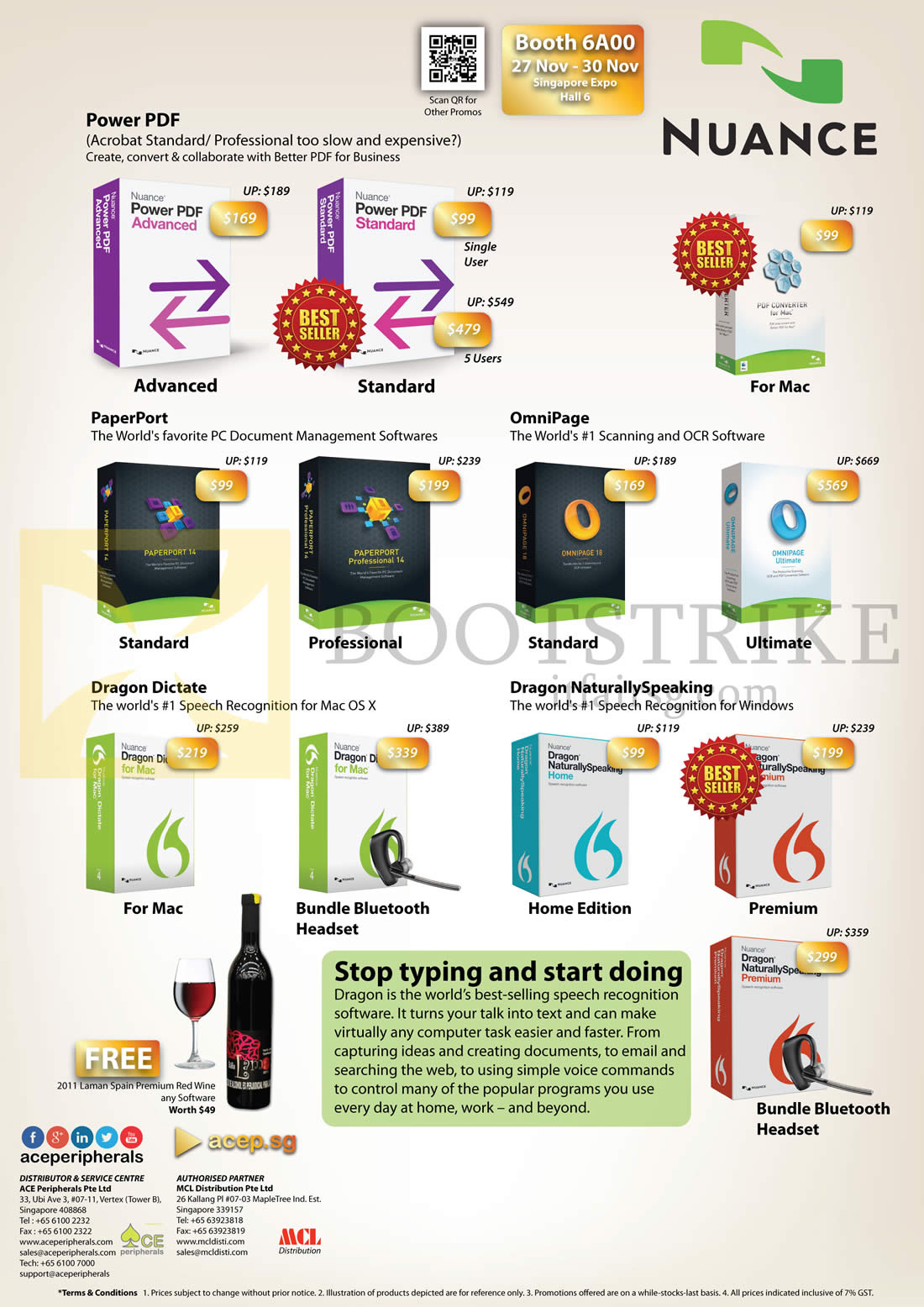 SITEX 2014 price list image brochure of Ace Peripherals Nuance Power PDF, PaperPort, Omnipage, Dragon Dictate, Dragon NaturallySpeaking