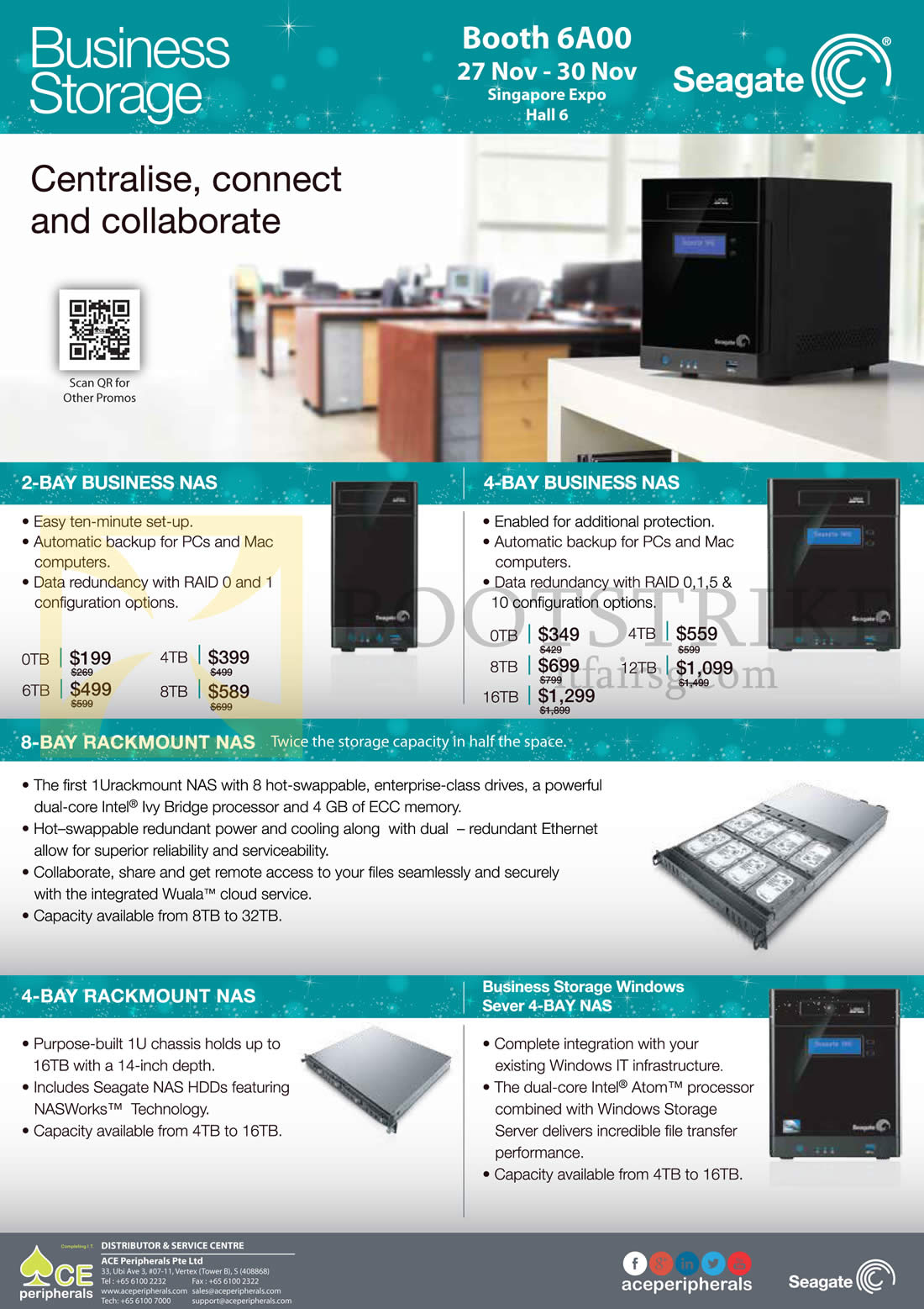 SITEX 2014 price list image brochure of Ace Peripherals Seagate Business NAS 2 Bay 4, Bay 6, Bay 8, 4TB, 6TB, 8TB, 12TB, 16TB