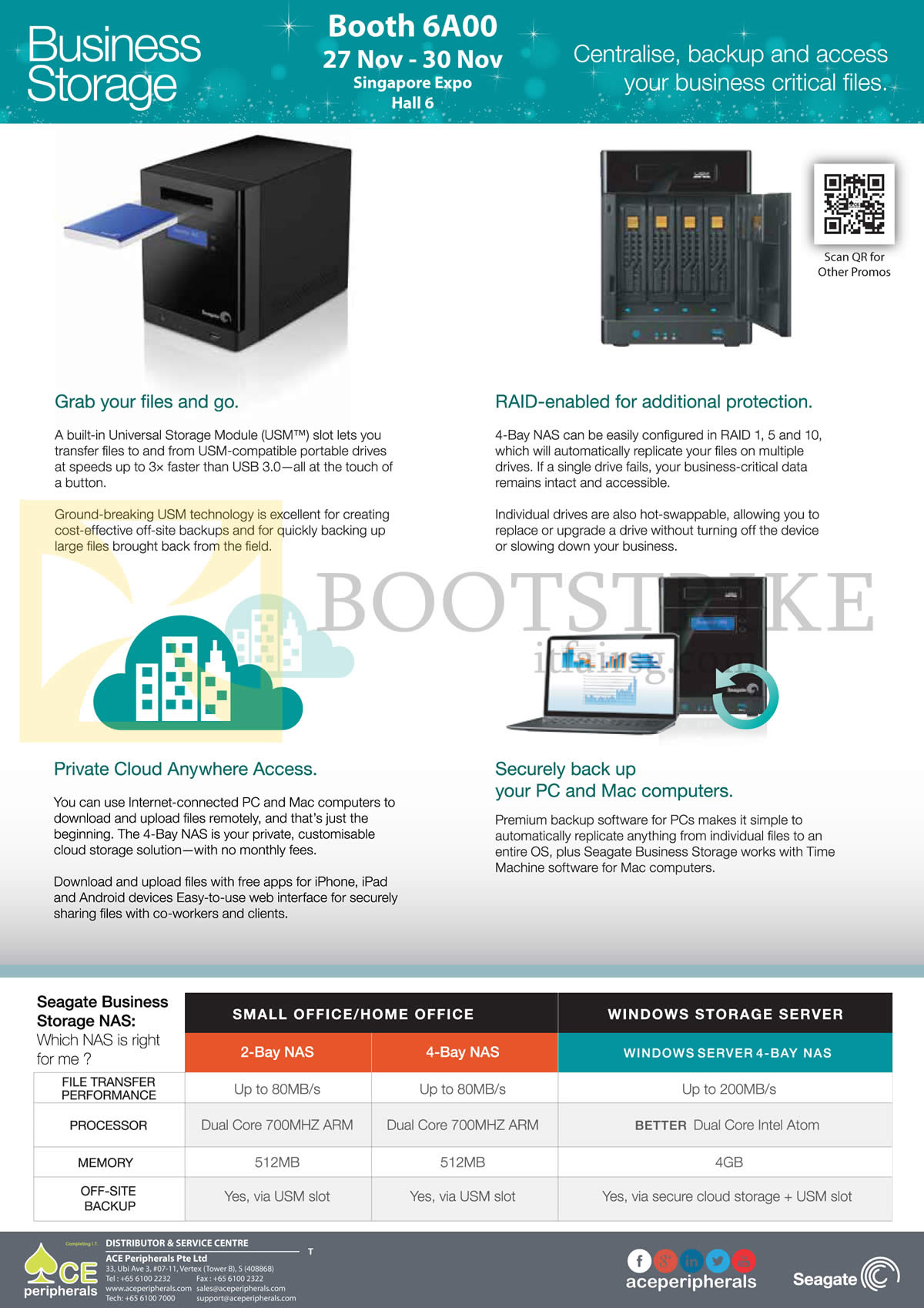 SITEX 2014 price list image brochure of Ace Peripherals Seagate Business Storage NAS 2 Bay, 4 Bay Comparison