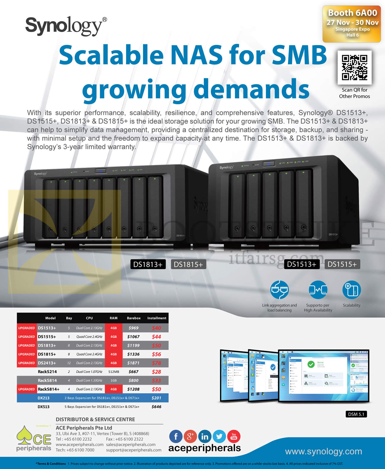 SITEX 2014 price list image brochure of Ace Peripherals Synology DiskStation DS1513, DS1813, DS2413, RS214, RS814, DX213, DX513, DS1515, DS1815 Plus