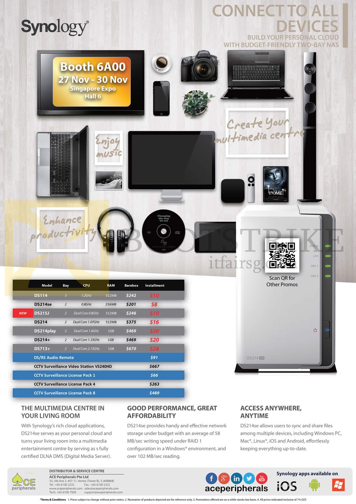 SITEX 2014 price list image brochure of Ace Peripherals Synology NAS DiskStation DS115, DS214se, DS215J, DS214Plus, DS214, DS214play, DS713 Plus, CCTV Surveillance