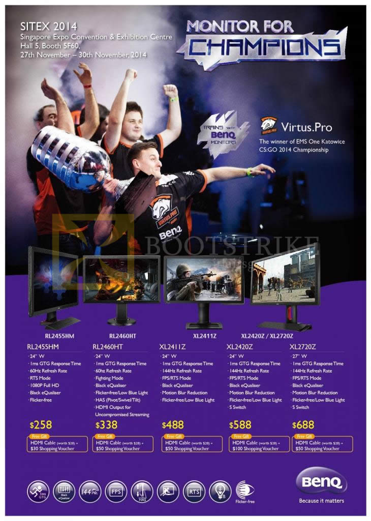 SITEX 2014 price list image brochure of Benq Monitors BL2455HM RL2460HT XL2411Z XL2420Z XL2720Z