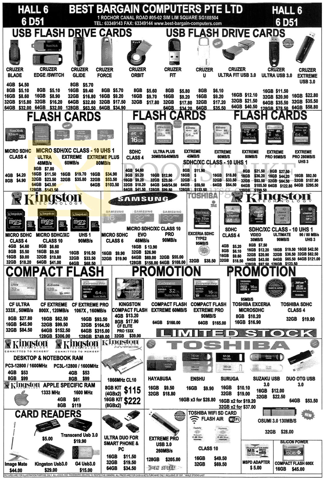 SITEX 2014 price list image brochure of Best Bargain Computers USB Flash Drive Cards, Flash Cards, Card Readers, Compact Flash, Samsung, Kingston, Toshiba, Micro SDHC, CF