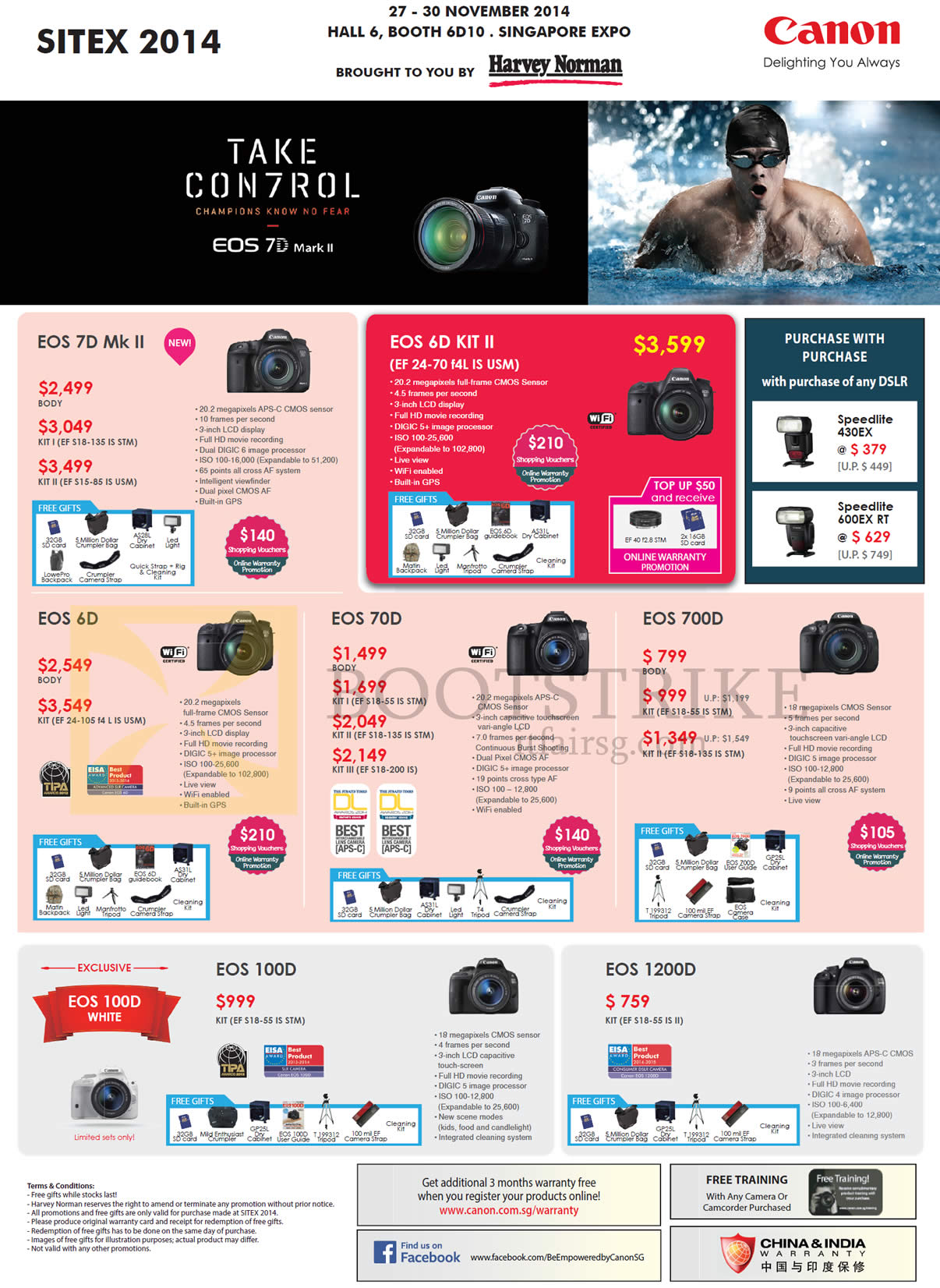 Canon Digital Cameras DSLR EOS 7D MK II, EOS 6D, EOS 70D, EOS 700D, EOS 100D, EOS 1200D