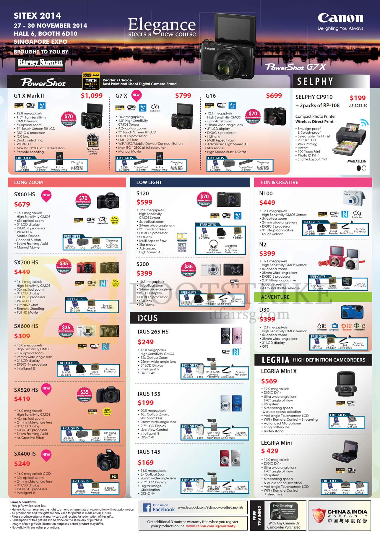 Canon Digital Cameras G1X Mark II, G7X, G16, Selphy CP910, SX60HS, SX700HS, SX600HS, SX520HS, S200, Ixus 265HS, D30, N2, N100