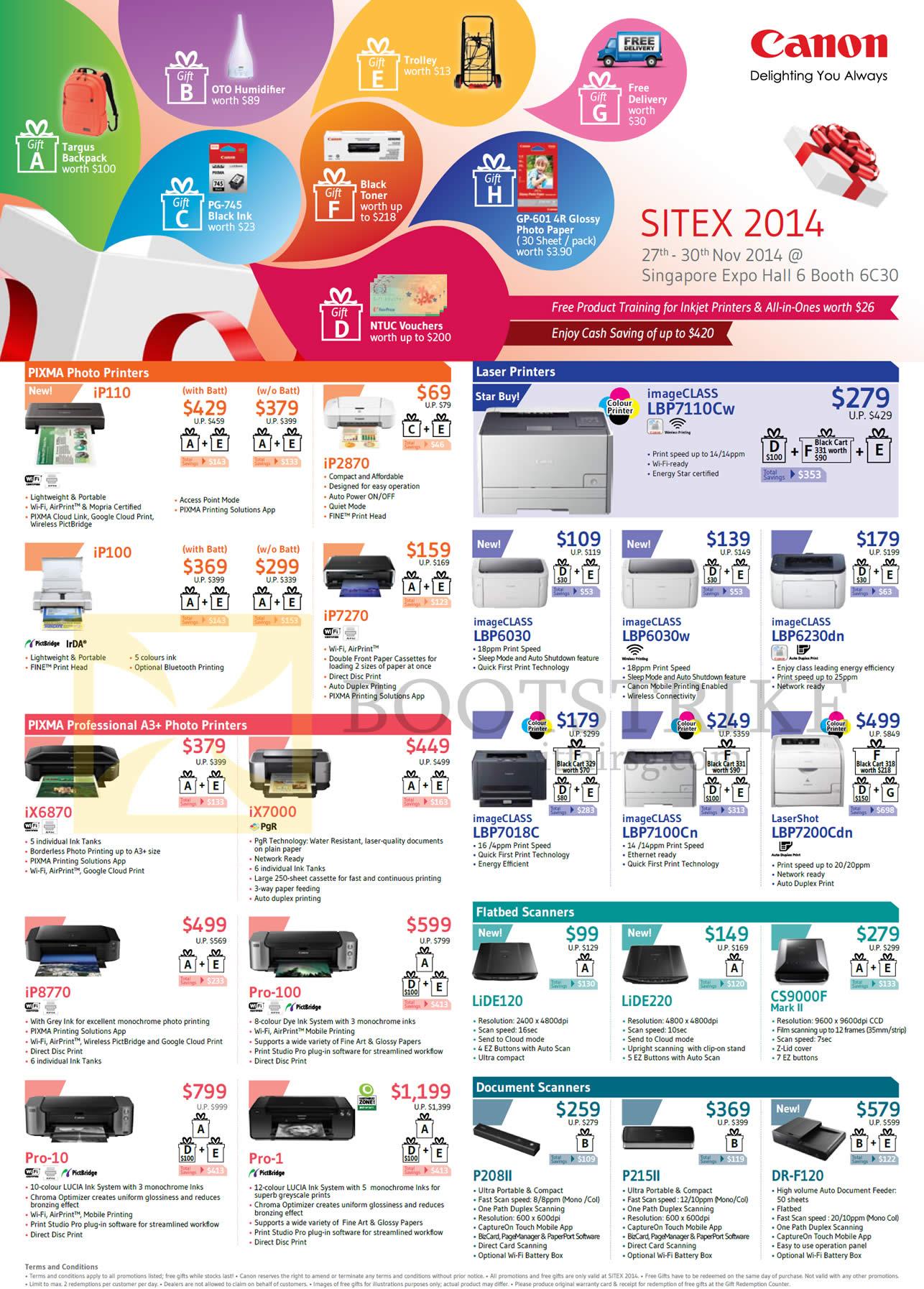 Canon Printers Pixma Photo, Scanners, IP110, IP100, IP7270, IX6870