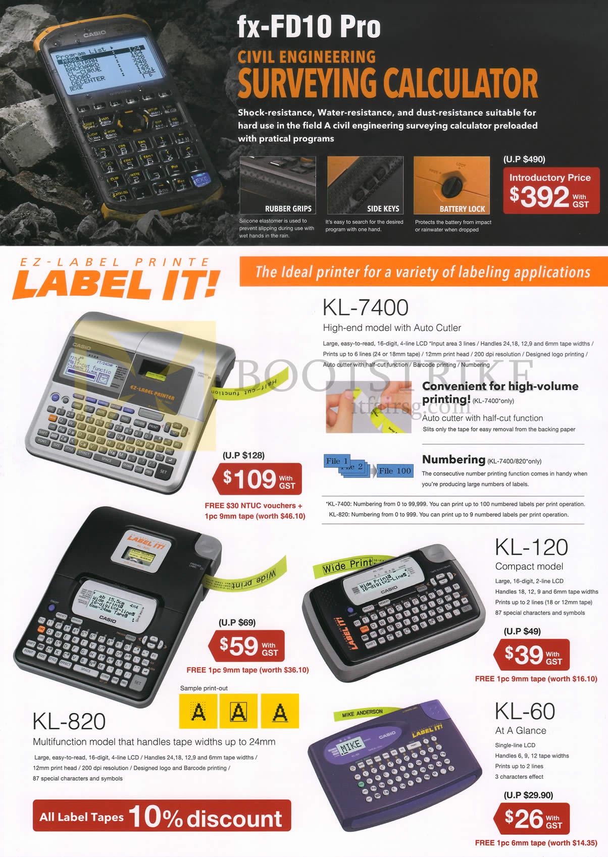 SITEX 2014 price list image brochure of Casio Labellers KL-7400, KL-120, KL-60, KL-820