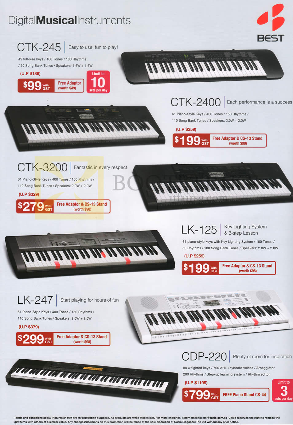 SITEX 2014 price list image brochure of Casio Music Best Denki Keyboards Pianos CTK-245, CTK-2400, CTK-3200, LK-125, LK-247, CDP-220