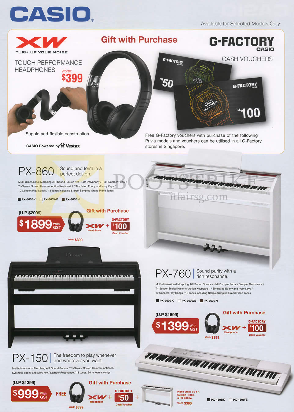 SITEX 2014 price list image brochure of Casio Music Headphones, Pianos, Touch Performance, PX-860, PX-760, PX-150