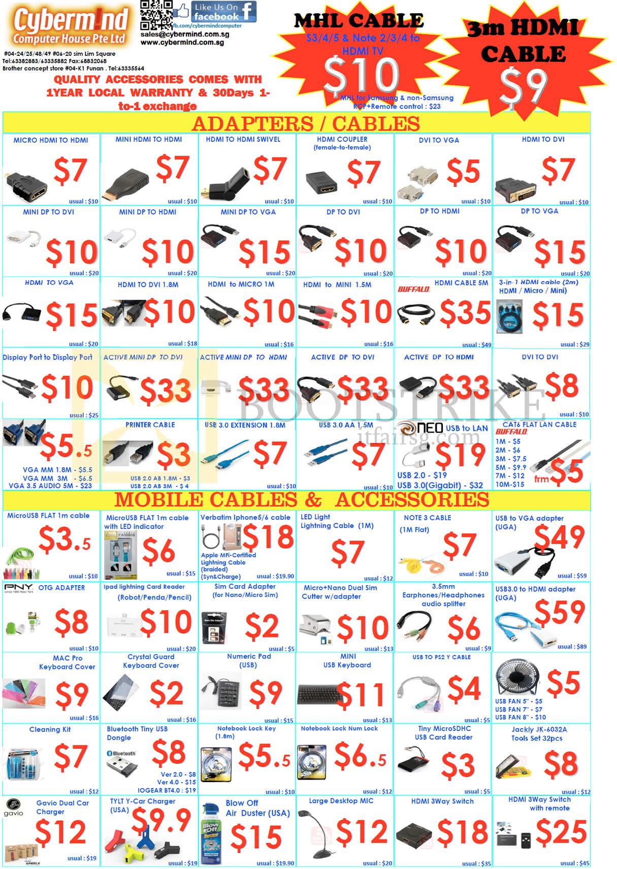 SITEX 2014 price list image brochure of Cybermind Accessories Adapters HDMI, DVI, VGA, DisplayPort, Micro USB, LED Light Lightning, Splitter, Cover, Adapter
