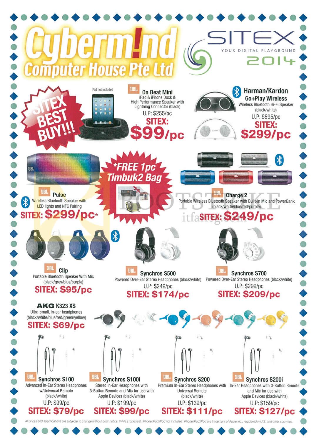 SITEX 2014 price list image brochure of Cybermind Audio JBL, Harman Kardon, On Beat Mini, Pulse Speaker, Charge 2, Clip, Synchros
