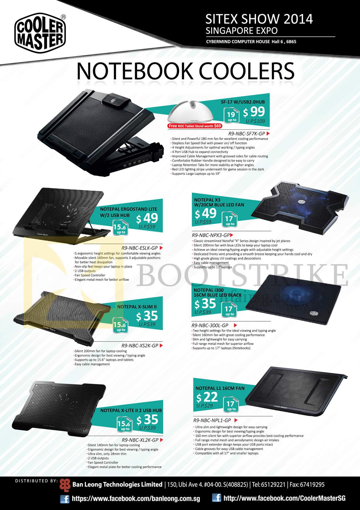 SITEX 2014 price list image brochure of Cybermind Cooler Master Notebook Coolers SF-17 WUSB2.0HUB, R9-NBC-SF7K-GP, Notepal X3 W20CM Fan, Ergostand Lite W2 USB Hub, X-Slim II, I300 16CM LED