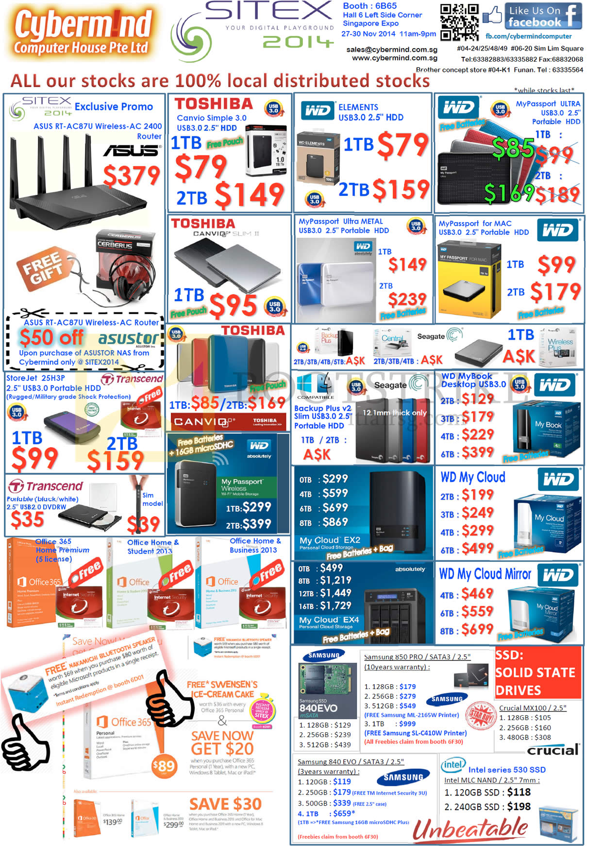 SITEX 2014 price list image brochure of Cybermind External Storage Drives Toshiba WD, Passport, My Cloud, Samsung EVO SSD, Crucial, Office 365, ASUS RT-AC87U Router