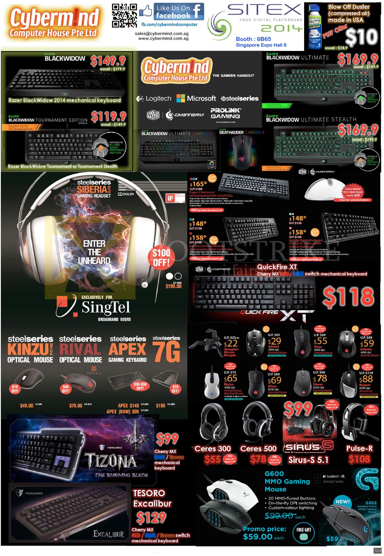 SITEX 2014 price list image brochure of Cybermind Keyboards Mouse, Razer, Logitech, Blackwidow, Steelseries Ceres, Sirus, Tesoro, Tizona, QuickFire XT