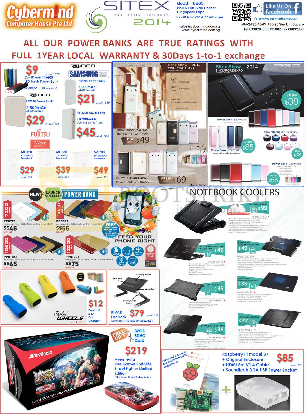 SITEX 2014 price list image brochure of Cybermind Power Banks Samsung Neo, Fujitsu, Probox, Cooler Master, Jackin Wheels, Avermedia Live Gamer Portable Street Fighter Edition, Raspberry PI