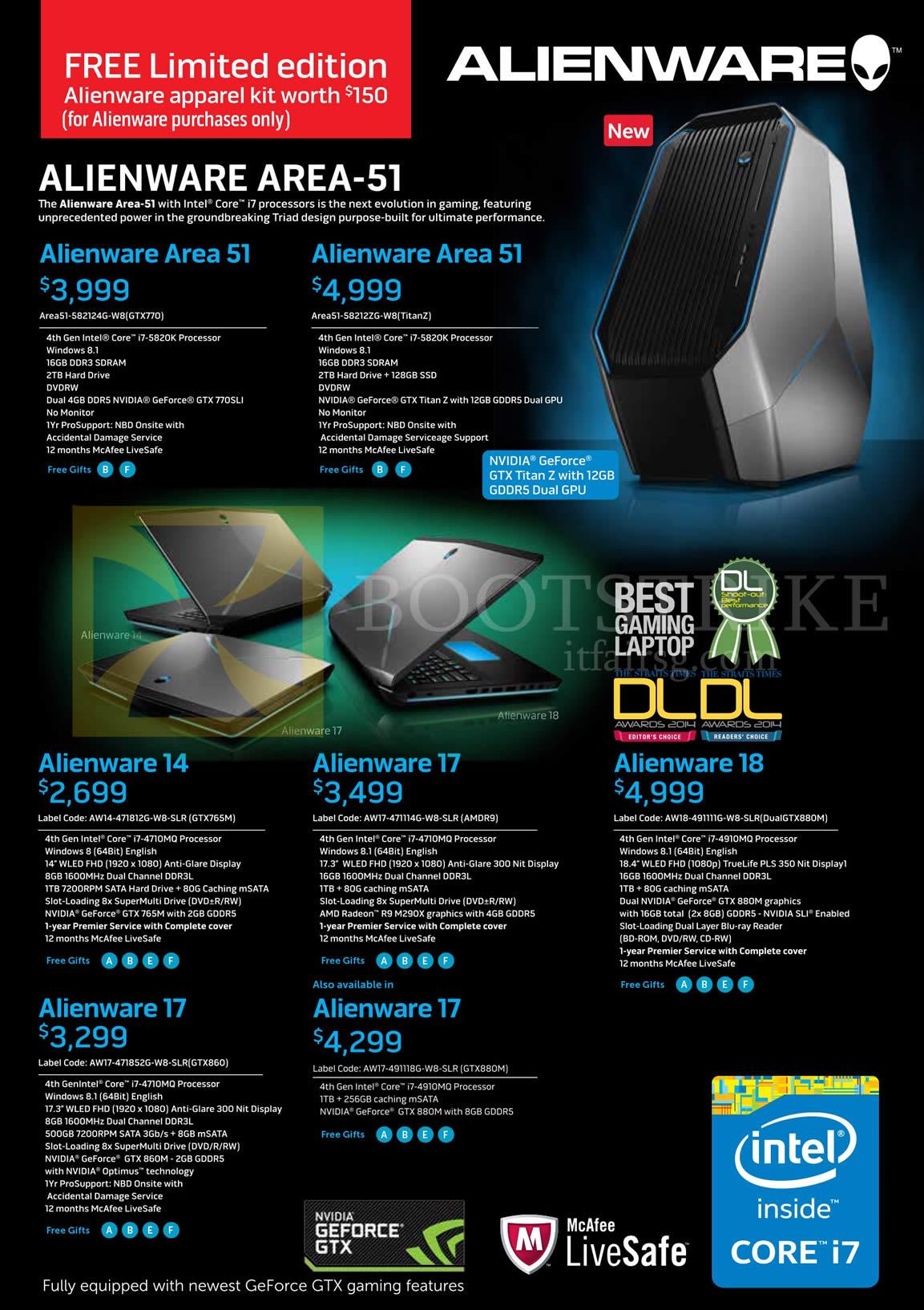 Dell Notebooks, Desktop PCs Alienware Area 51, 14, 17, 18 SITEX 2014