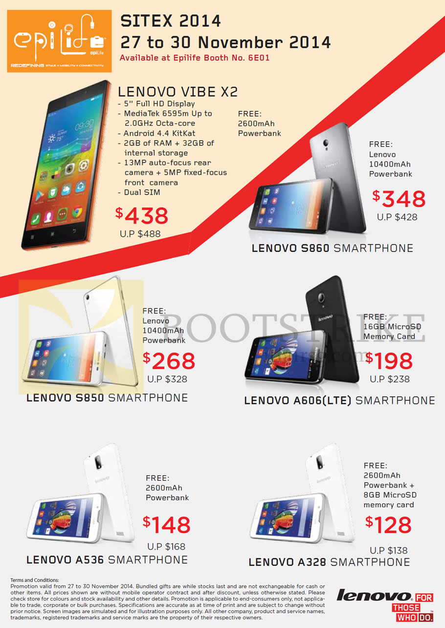 Lenovo Smartphone Promos By Epilife Hardwarezonecomsg S860 Dual Sim Card Source Epicentre Epitude Mobile Phones Vibe X2 S850 A606 A536 A328 Sitex 2014 Price List Brochure Flyer Image