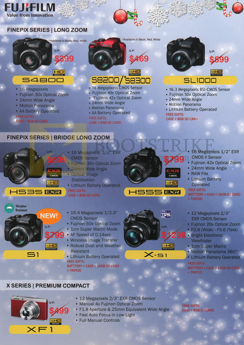 Fujifilm Digital Cameras (No Prices) S4800, S8200, S8300, SL1000, HS35, HS55, S1, X-51, XF1