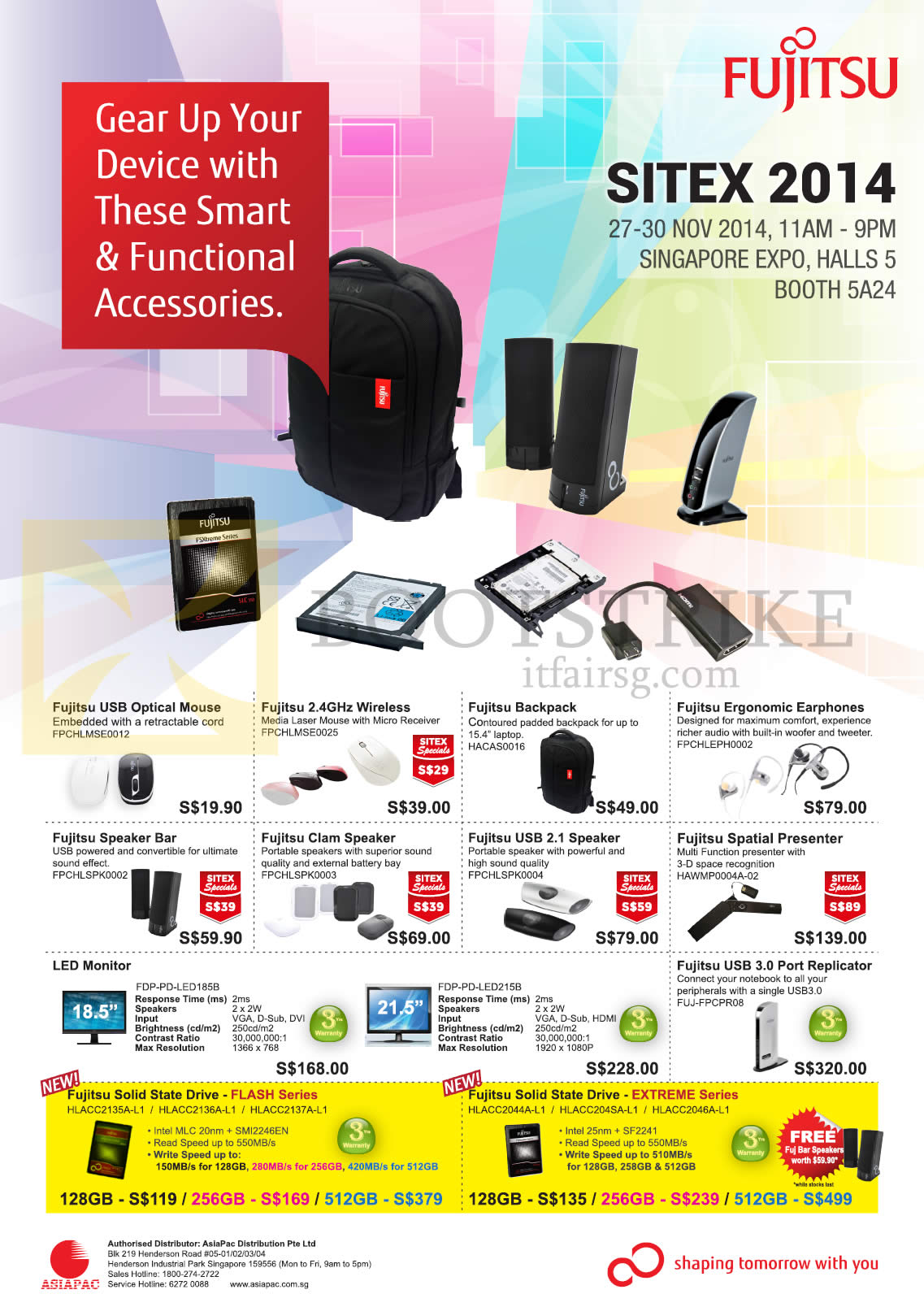 SITEX 2014 price list image brochure of Fujitsu Accessories Mouse, Speaker, Backpack, Earphones, USB Port Replicator, LED Monitor
