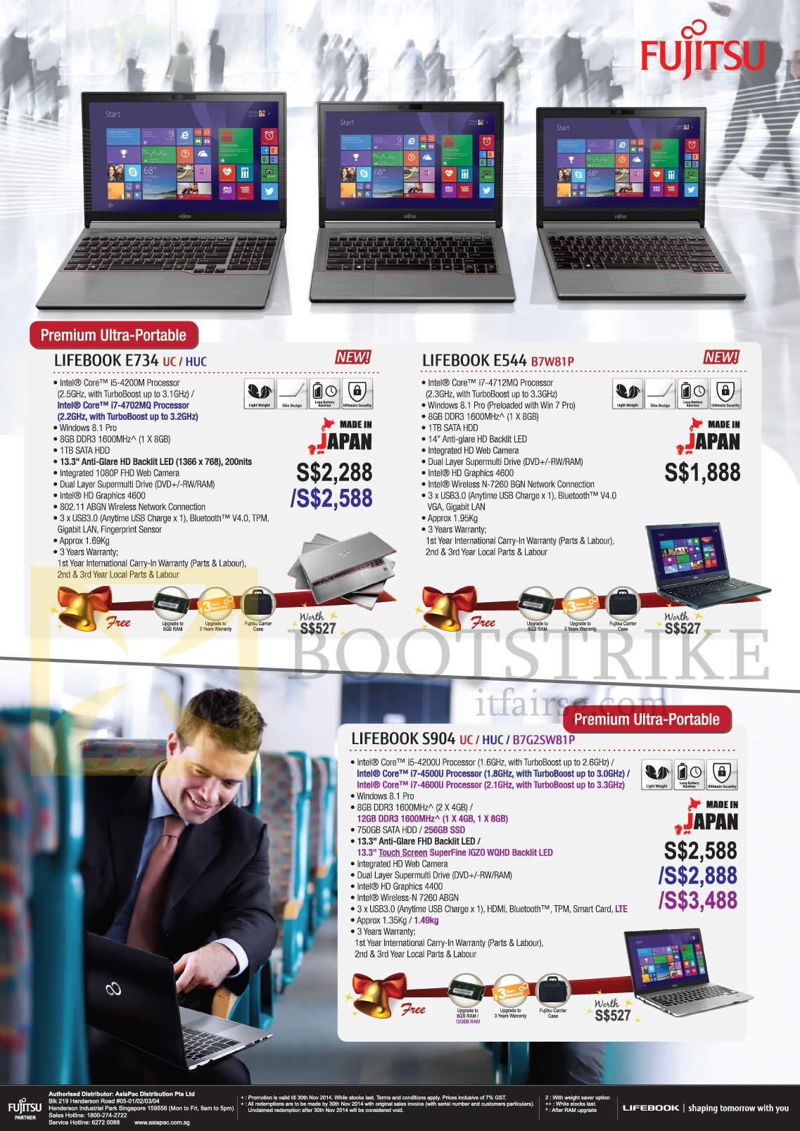 SITEX 2014 price list image brochure of Fujitsu Notebooks Lifebook E734 UC HUC, Lifebook E544 B7W81P, Lifebook S904 UC HUC B7G2SW81P