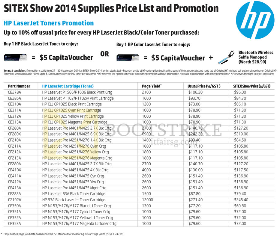 HP Printers LaserJet Cartridge Price List SITEX 2014 Price