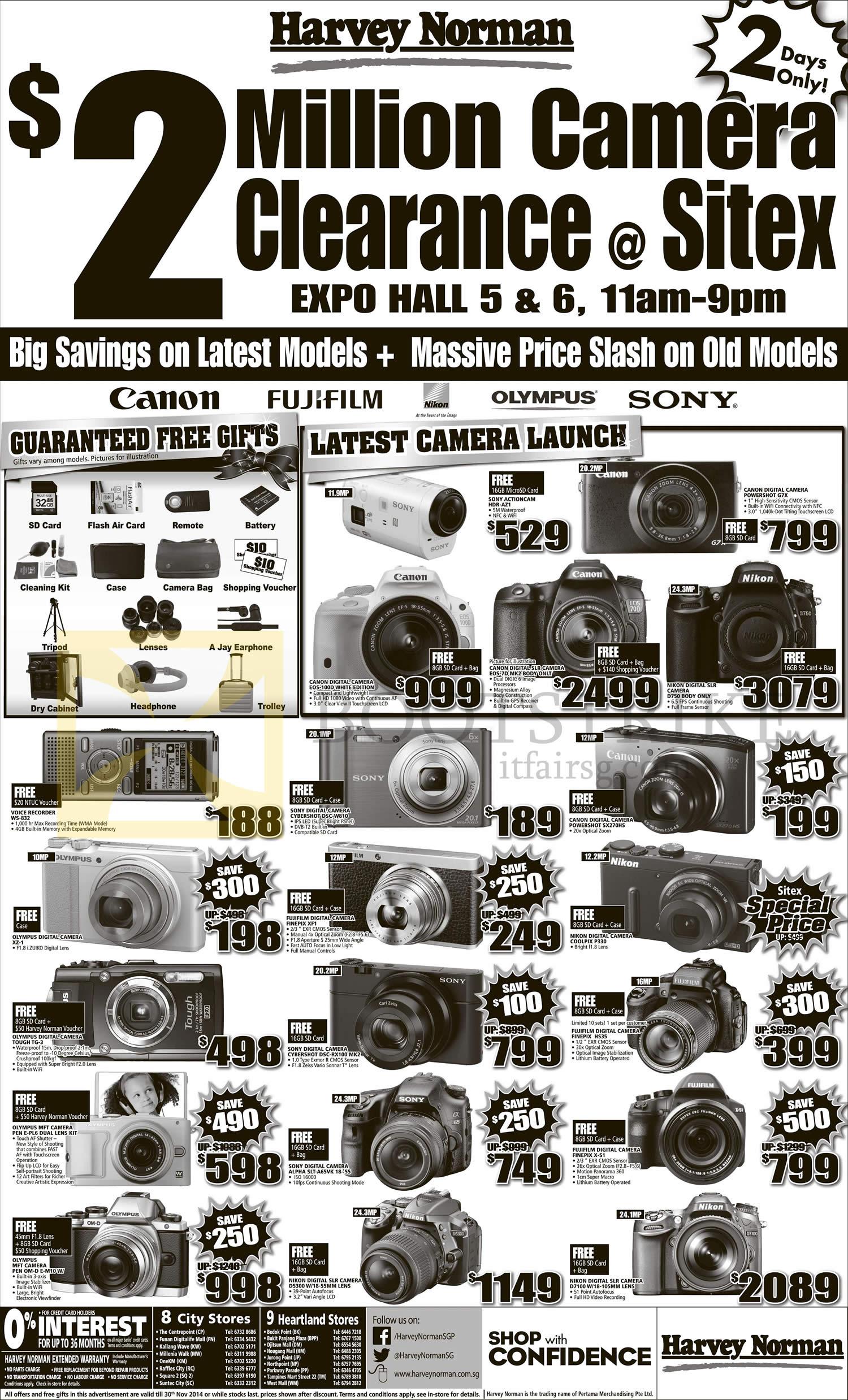 SITEX 2014 price list image brochure of Harvey Norman Digital Cameras, Camcorders, Sony, Canon, Nikon, Olympus, Fujifilm HS35, G7X, EOS 7D, D750, 100D, SX270HS, P330, XF1