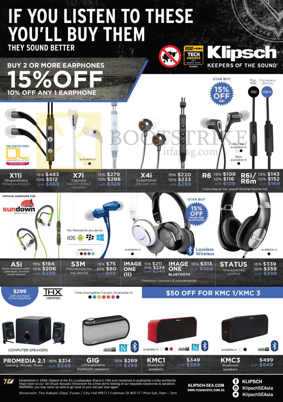 SITEX 2014 price list image brochure of Klipsch Speakers, Earphones, X11i, X7i, X4i, R6, R6i, R6m, A5i, S3M, IMAGE ONE, STATUS, PROMEDIA 2.1, GIG, KMC1, KMC3