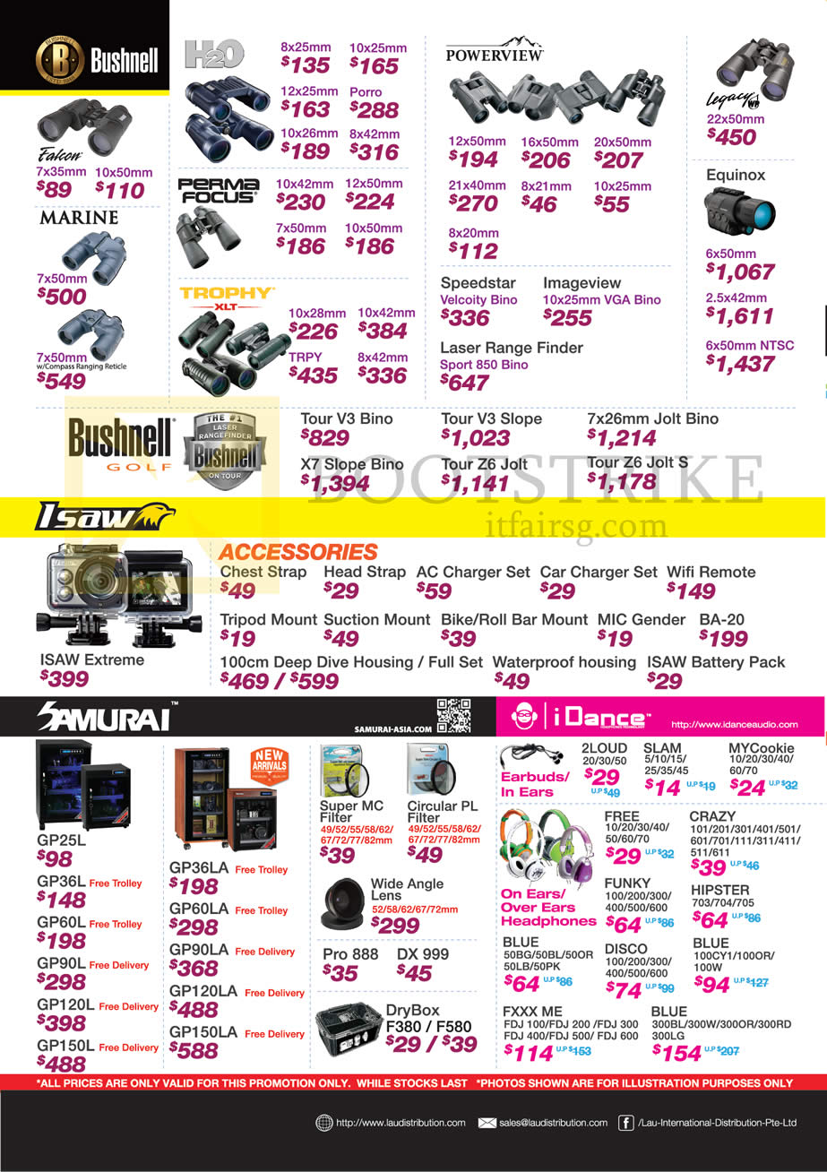 SITEX 2014 price list image brochure of Lau Intl Bushnell Binoculars, Isaw, Samurai, IDance